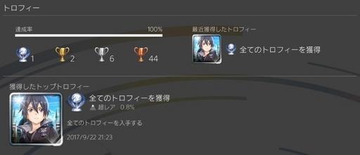 PS4 SAOホロウリアリゼーションのトロフィーをコンプ.jpg